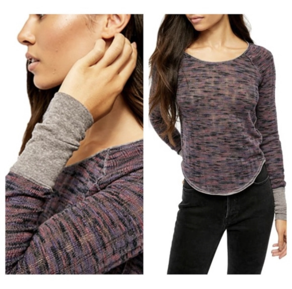 Free People Night Combo Long Sleeve Knit Top Size:Small