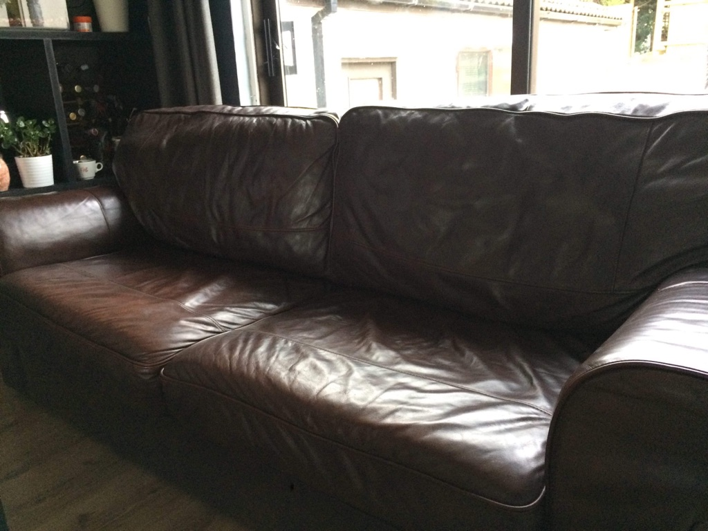 Real leather sofa bed.