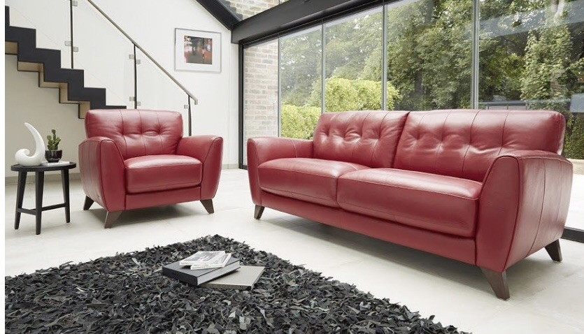 Beautiful red Italian leather sofa suite