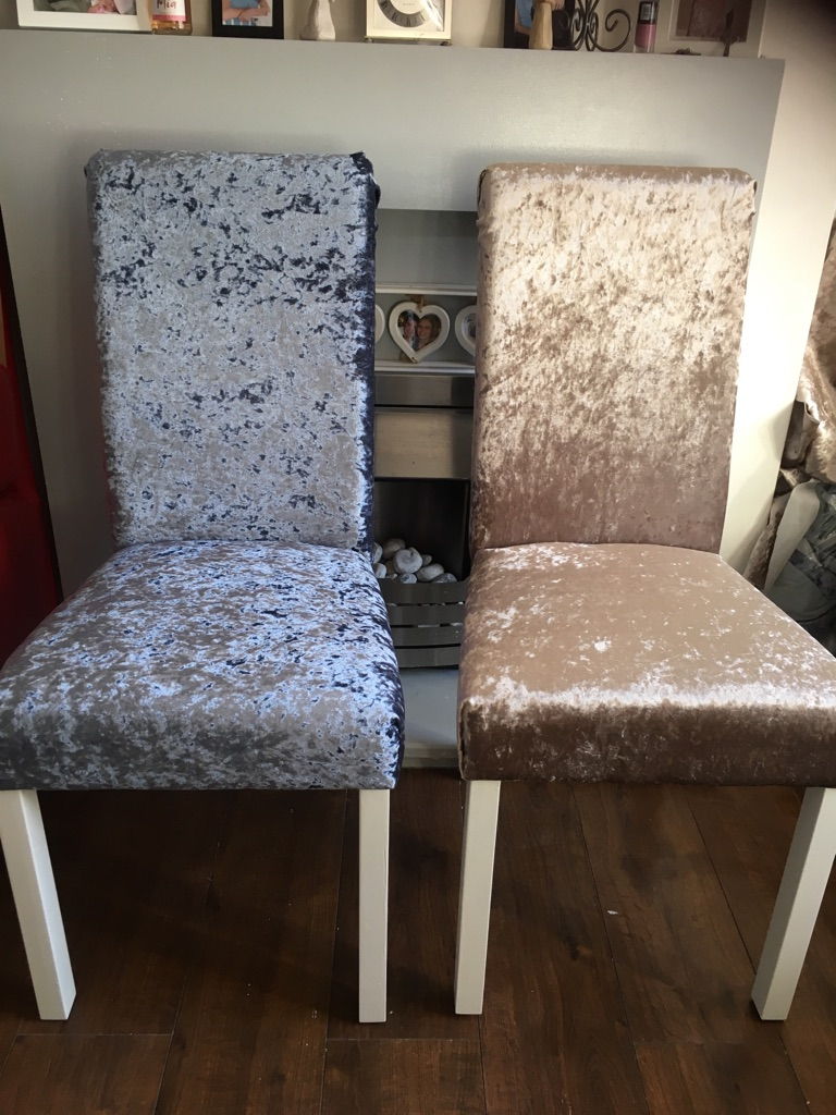 Crushed velvet chairs price is per chair