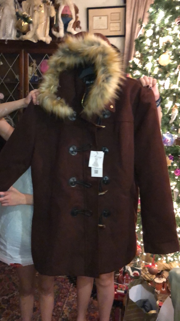 Brown fur lined hood winter hood