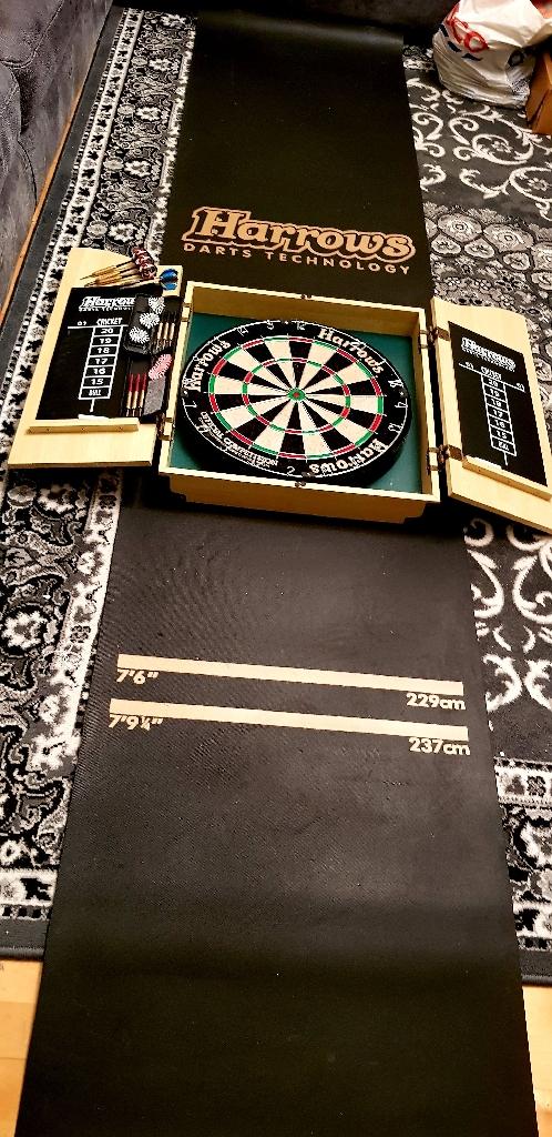 Harrows dart board, box, mat and darts