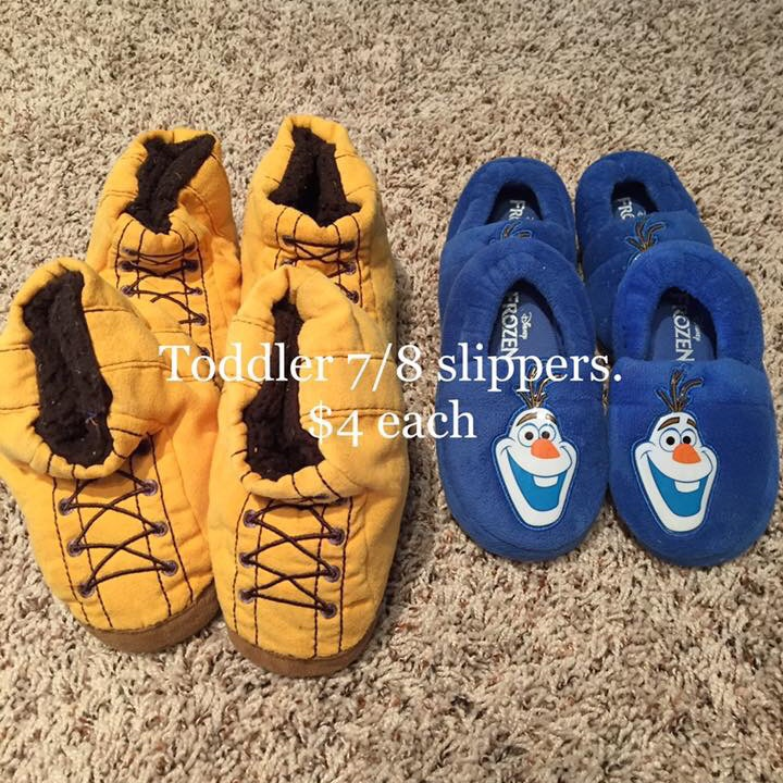 Toddler yellow and Olaf slippers $4 each pair