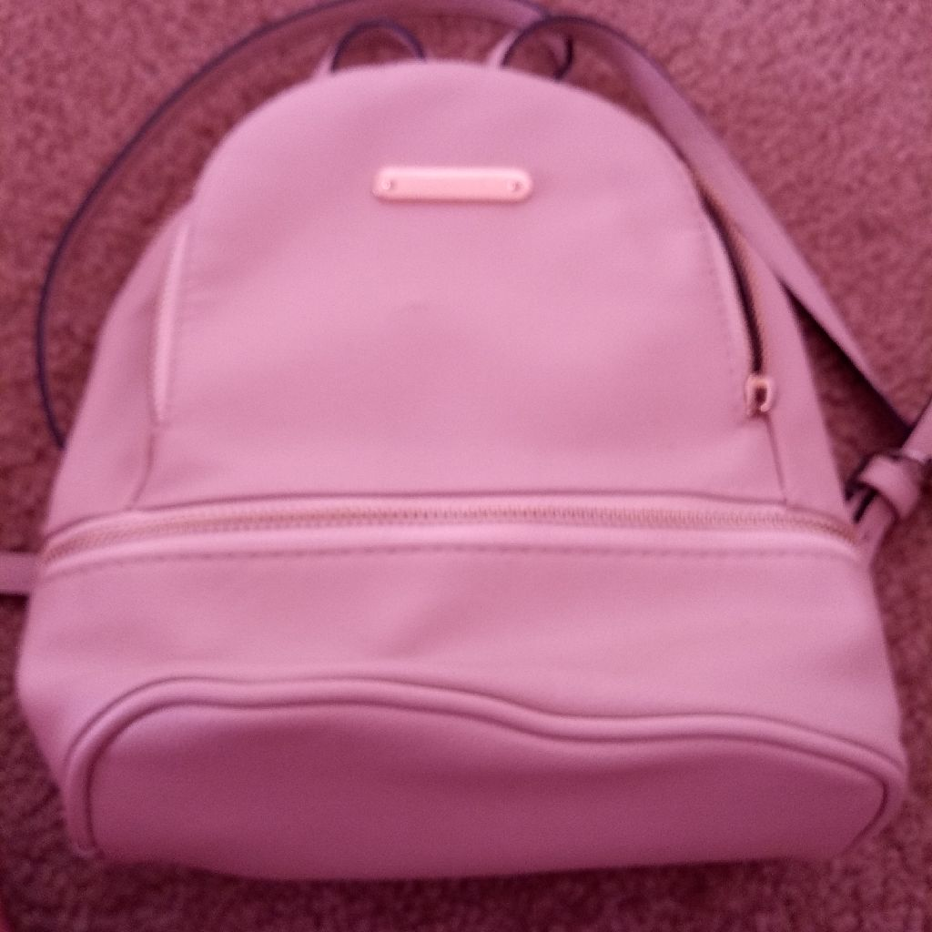 Beige womans mini backpack purse