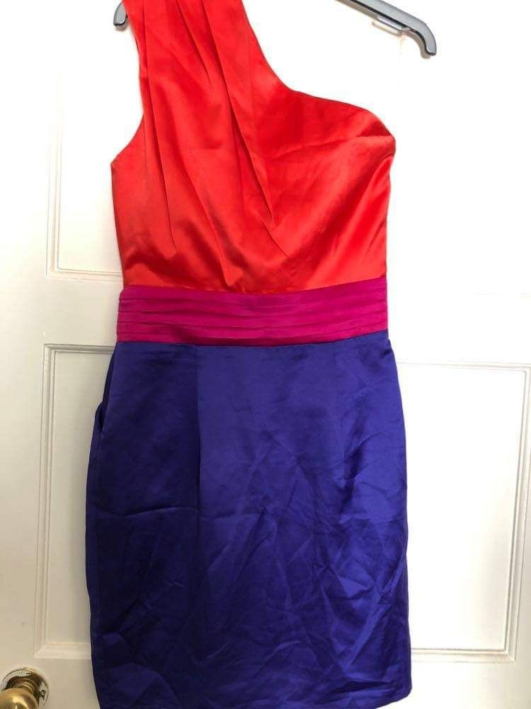 Lipsy London Multi-Coloured Satin One Shoulder Zip-up Bodycon Dress UK8
