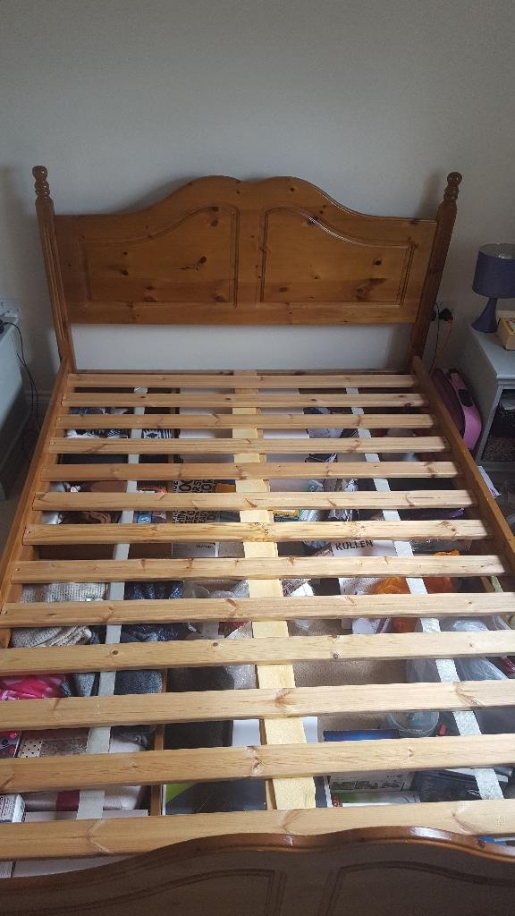 Wooden oak coloured bed frame
