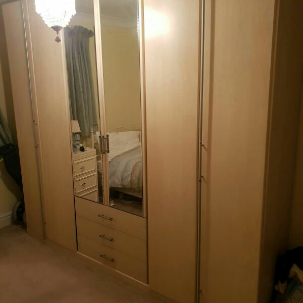 3 door beech  wardrobe
