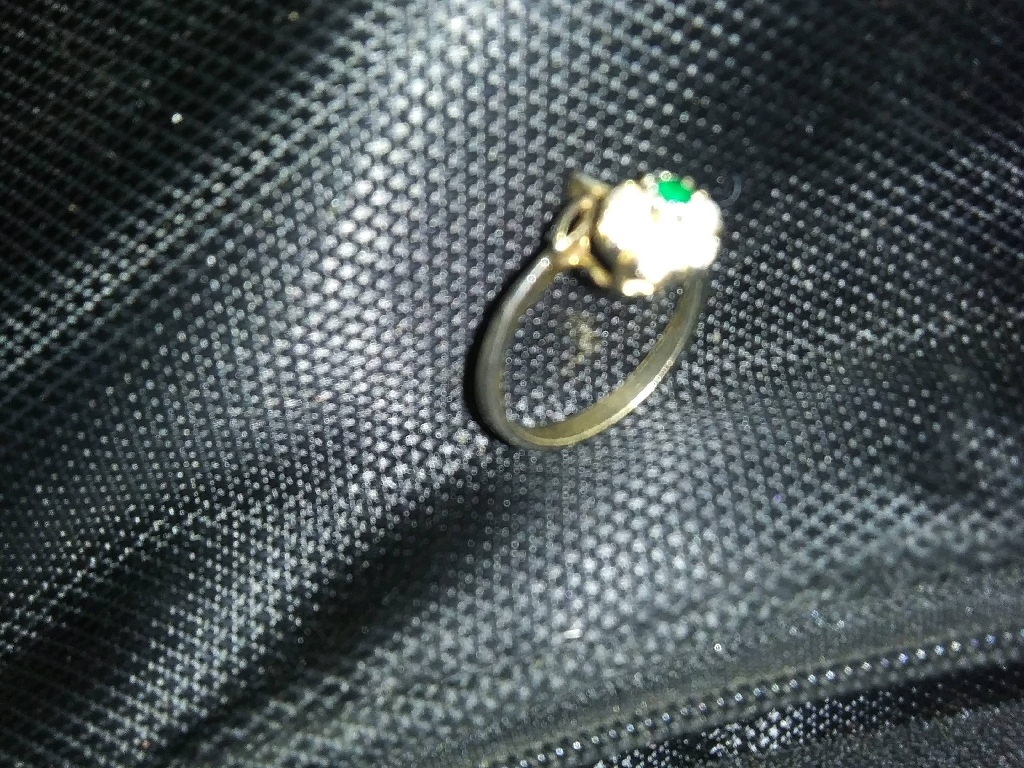 Gold flower diamond and jade ring