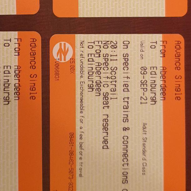 2 Return tickets edinburgh to aberdeen