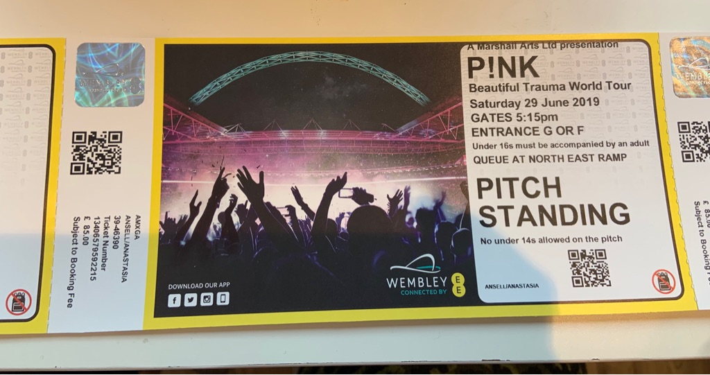 X2 standing Pink tickets for Sat 29th June - Wembley
