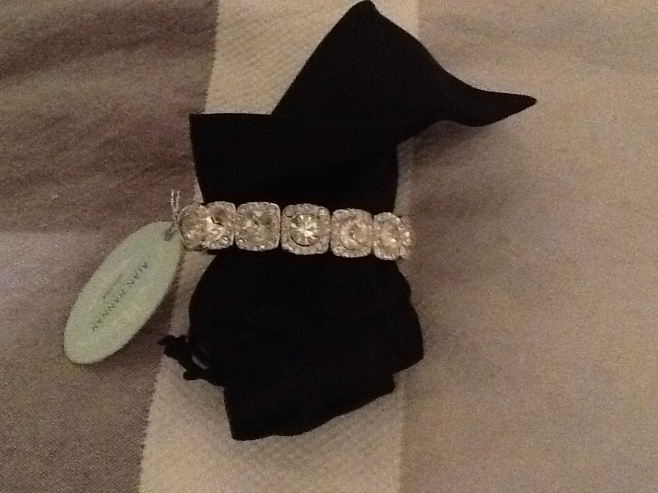 Alan Hannah Devoted silver and diamanté elasticated cuff style bracelet (never worn)