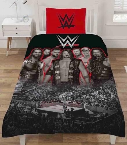 "Official WWE Wresting Ring ""Reversible"" Single Duvet Cover with Matching Pillow Case Bedding Set"