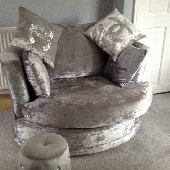 Silver crushed Chesterfield & swivel love chair