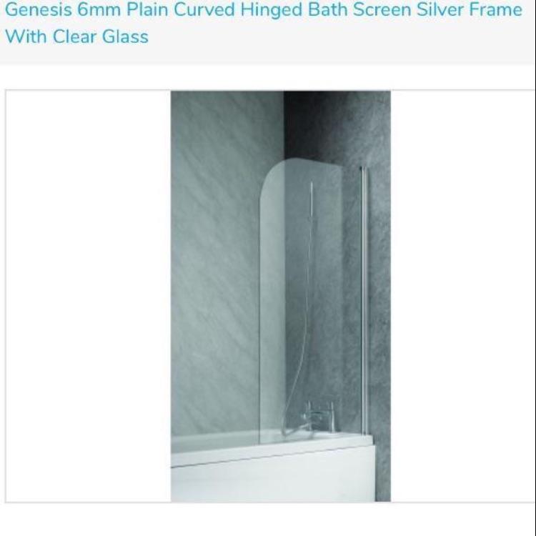 Genesis glass curved bath screen 700mm x 1350mm