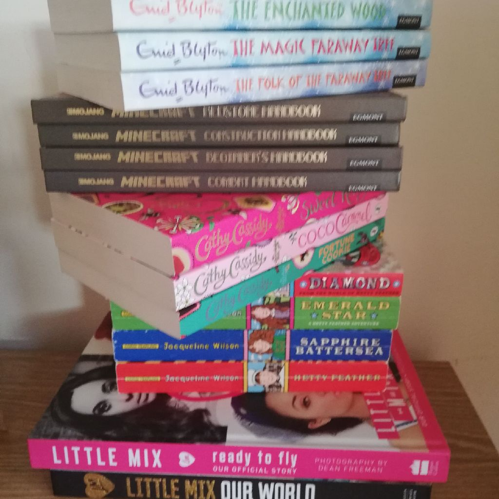 Collection of books by Enid Blytin, jacqueline Wilson, Cathy Cassidy, Minecraft, Littke Mix