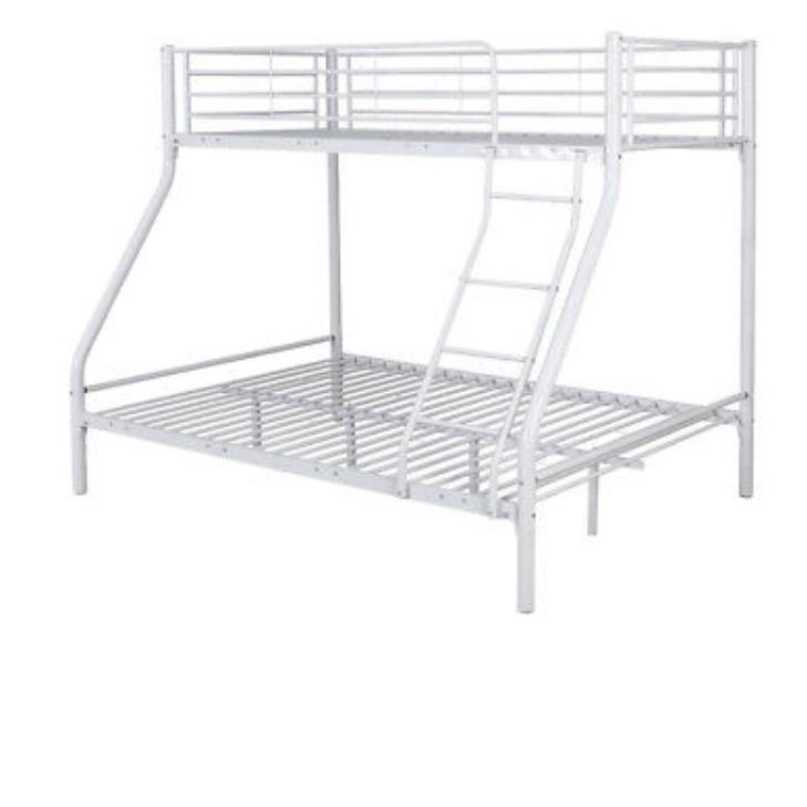 White metal triple sleeper bunk bed