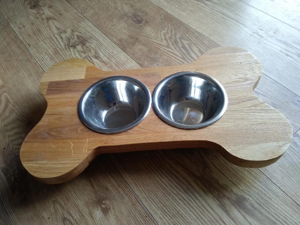 Handmade dog bowl stand