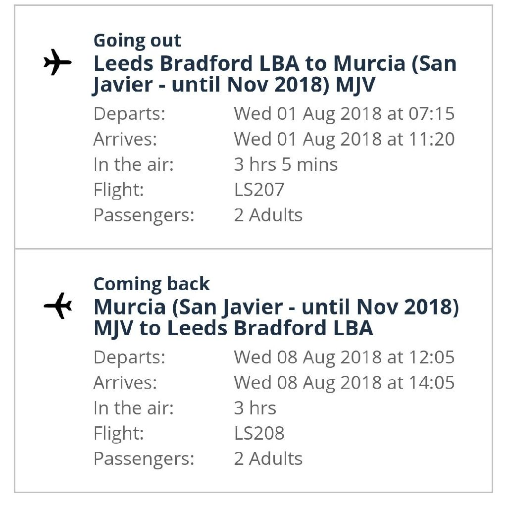 2xRETURN FLIGHTS LEEDS TO SPAIN