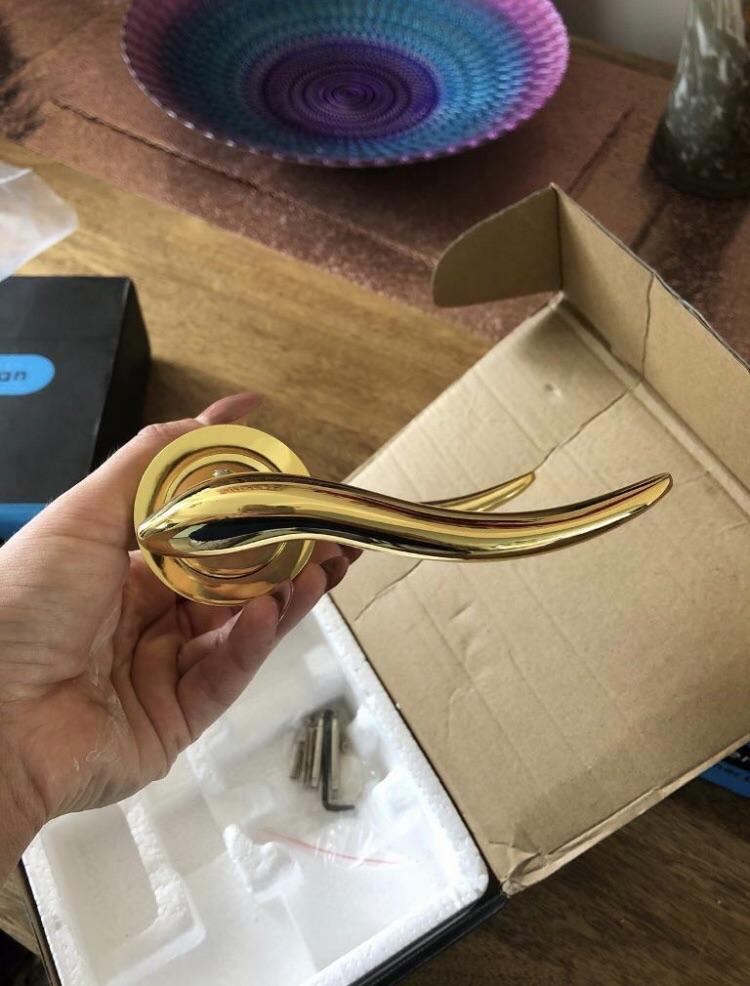 Brand new gold door handles