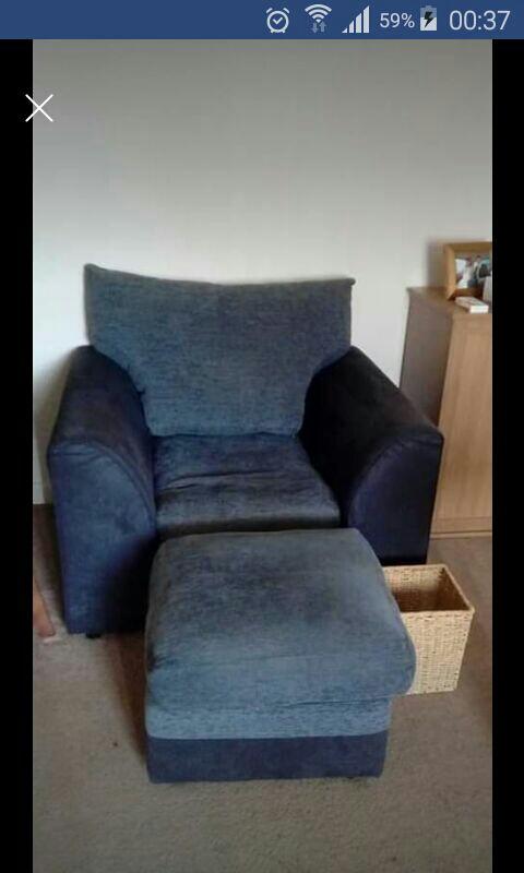 Corner sofa chair and puffy