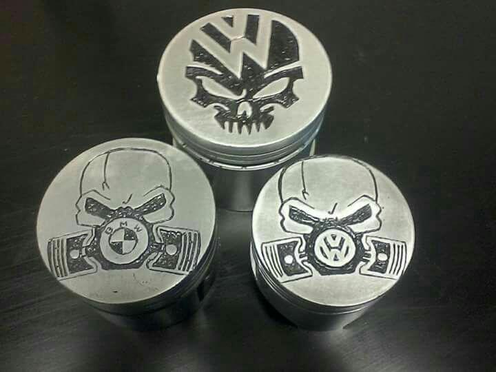 Unique hand engraved pistons