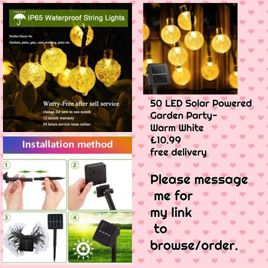 💥50 LED Solar Powered Garden Party- Warm White 💥£10.99 🚚Free delivery.