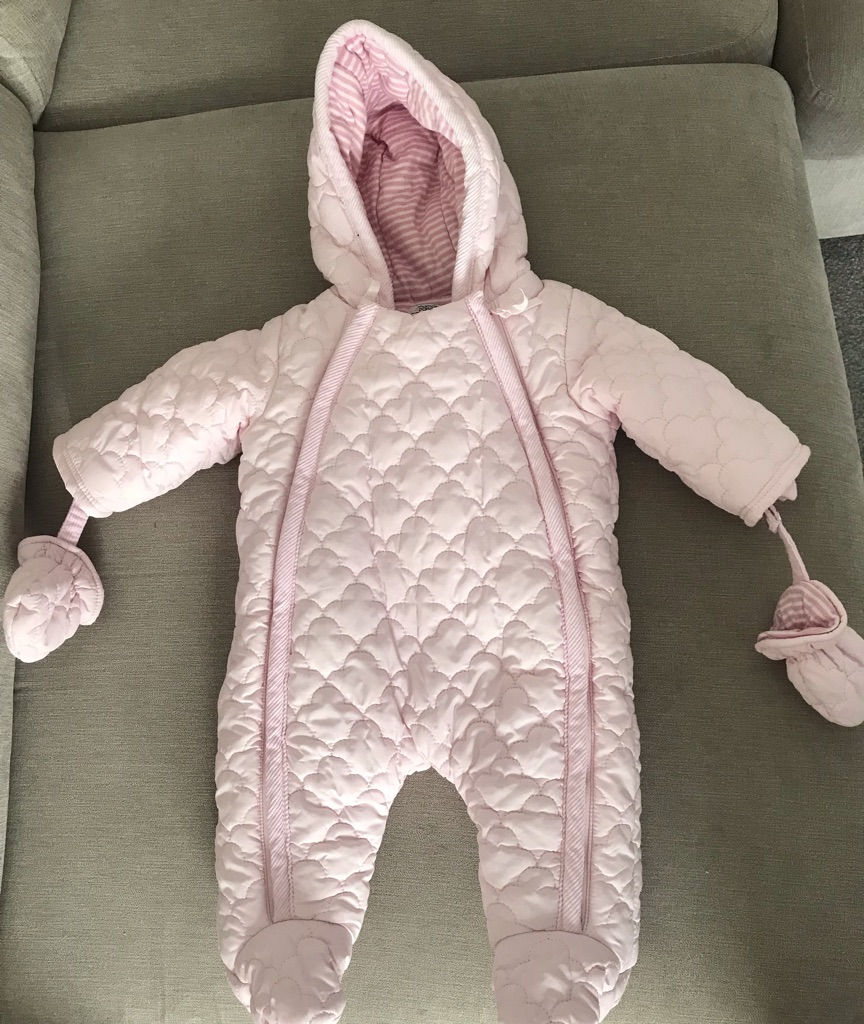 Pink padded all in one coat age 0-3 months
