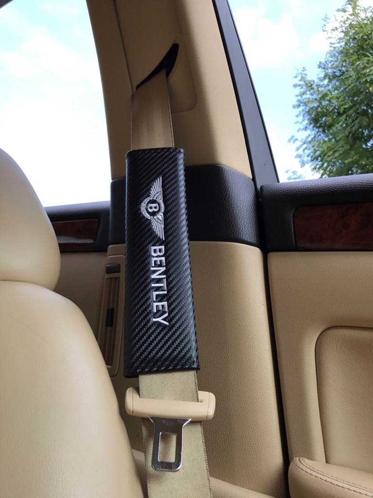 2X Seat Belt Pads Carbon Gift Bentley Continental Flying Spur GT Arnage Limo