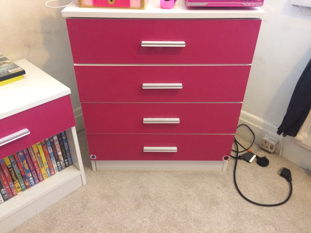 Pink high gloss wardrobe set