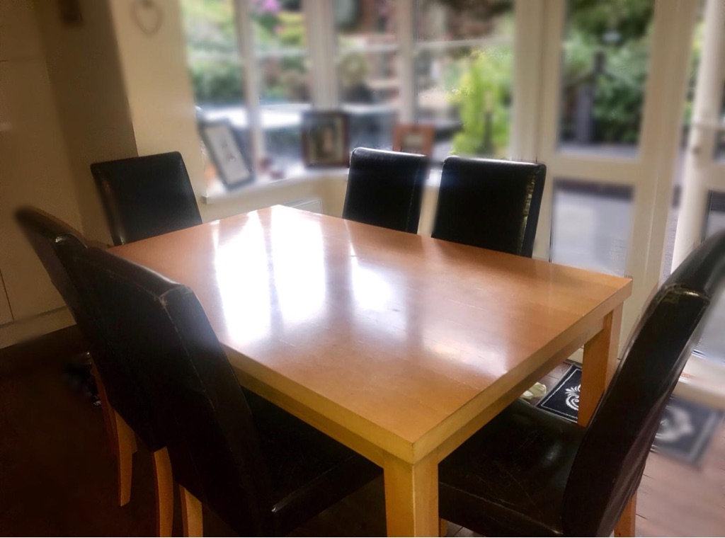 FOR SALE - Large Beech Table & 6 High Backed Brown Mock Leather Chairs