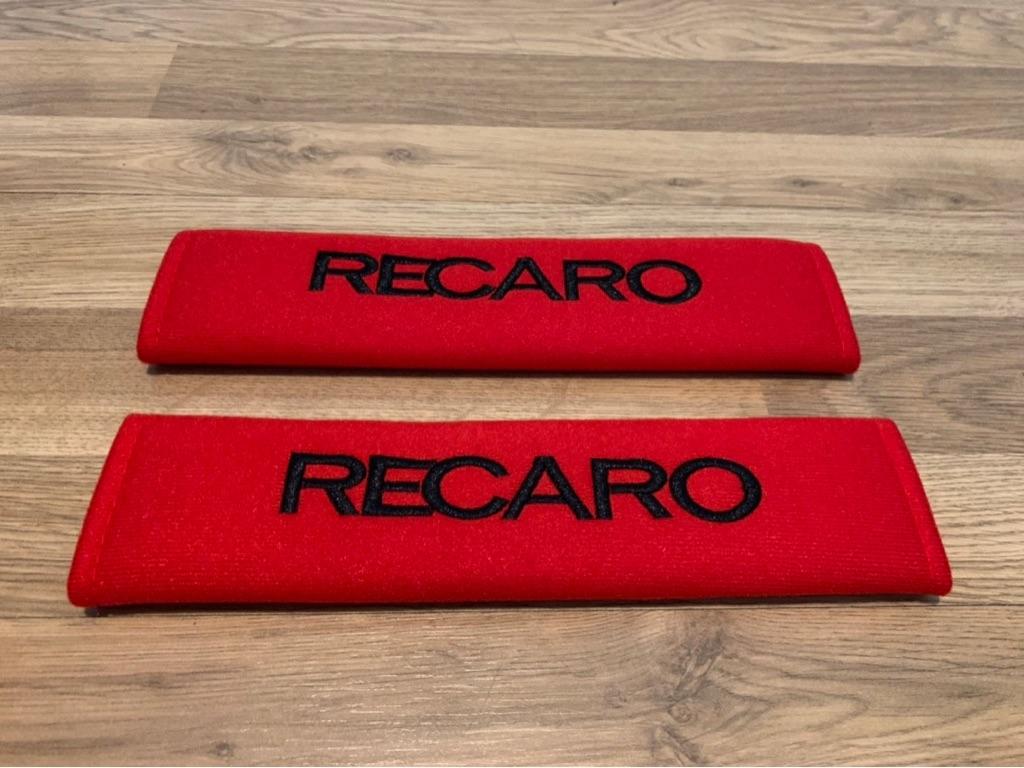 2X Car Seat Belt Pads Red Gifts Recaro Seats Motorsport Race Ralli Sport GT Racing