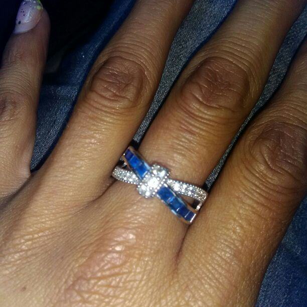 Blue Sapphire Moissanite Ring Size 9