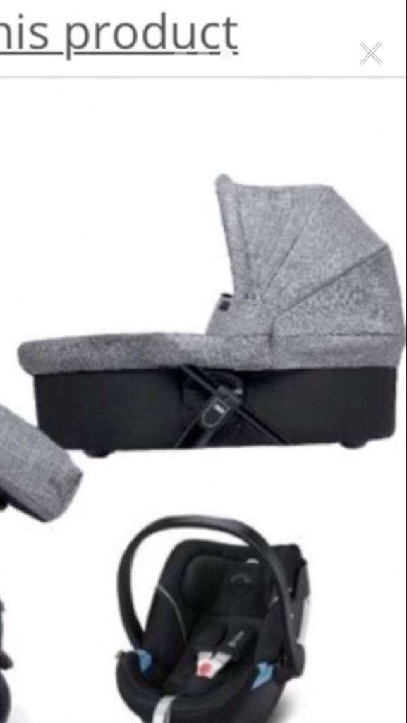 Grey marl carry cot used