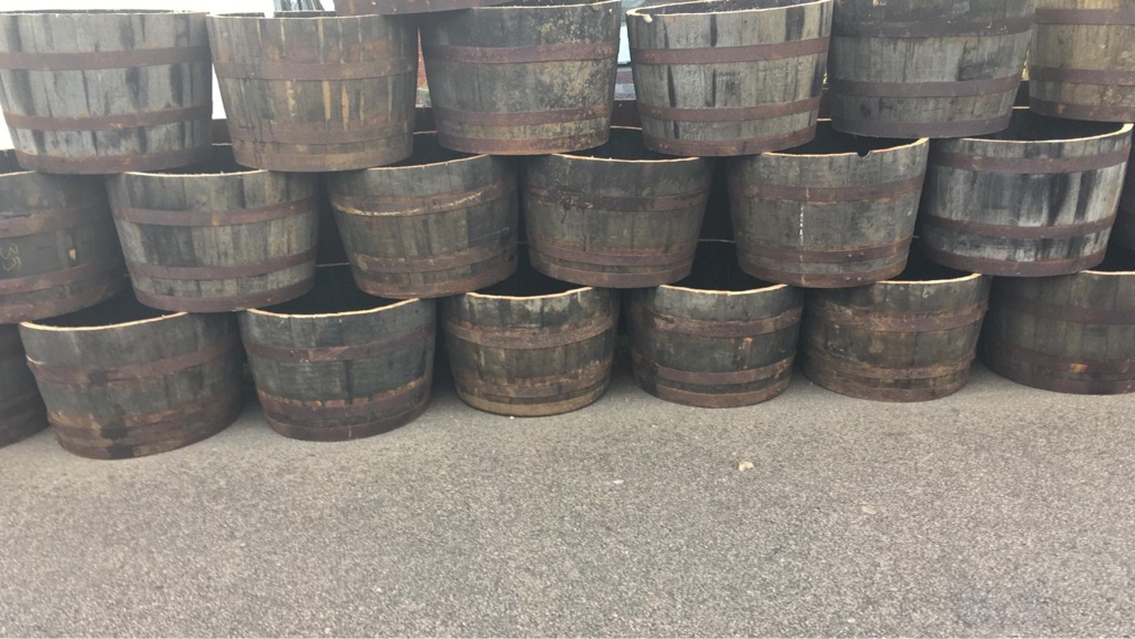 HALF OAK BARREL PLANTERS