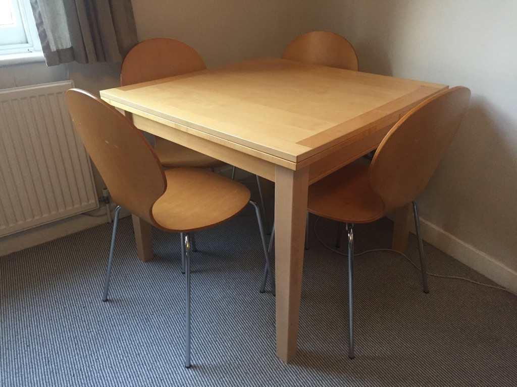 Extendable dining table and 4 chairs, originally Ikea, beech/birch solid wood, available for immediate pick up from NW5