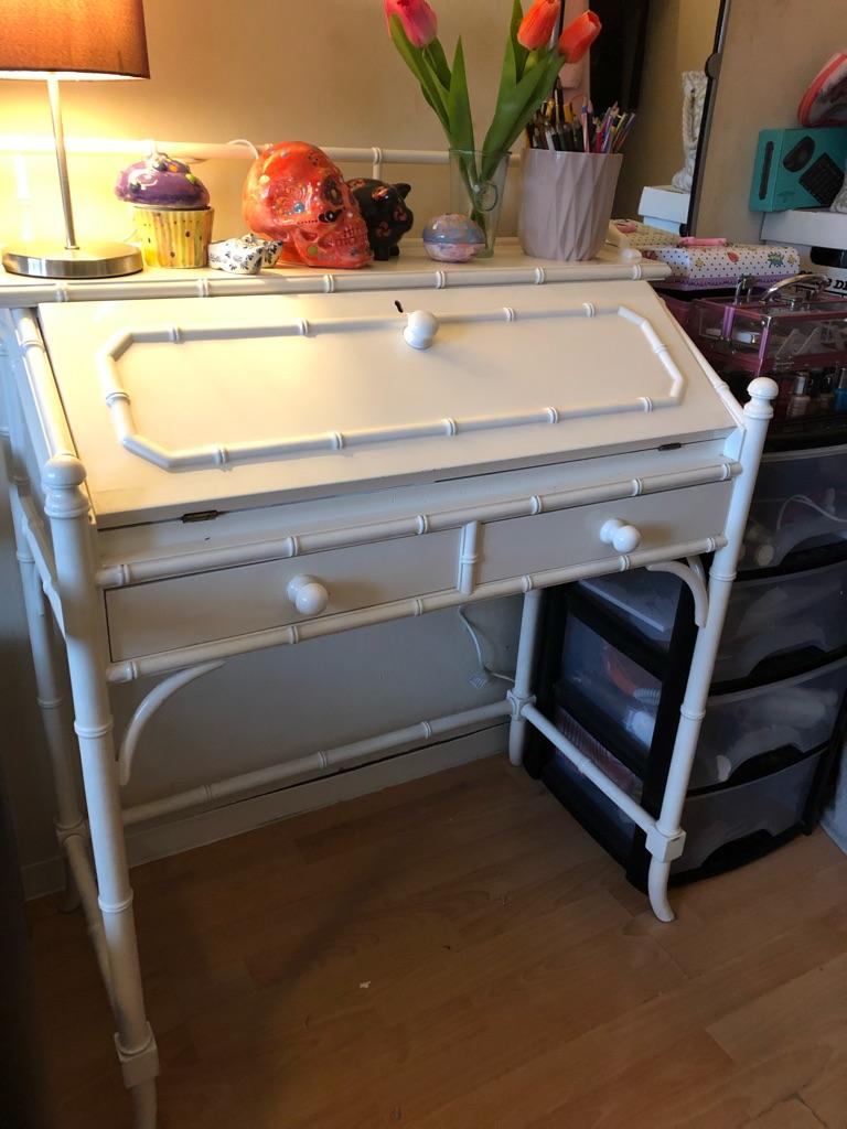 White wooden storage cabinet