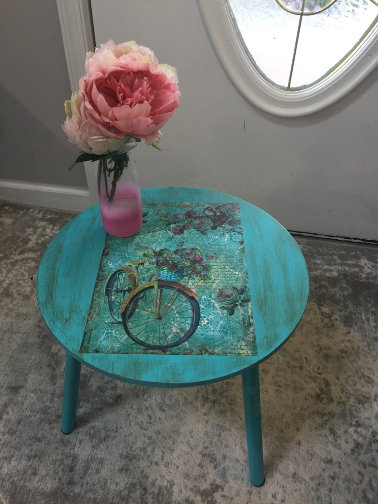 2 vintage small accent table ( blue and grey ) brand new