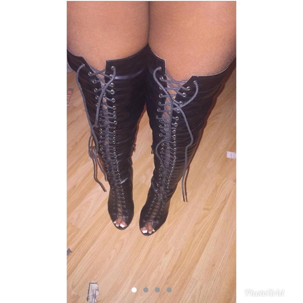 Women's lace up high heels