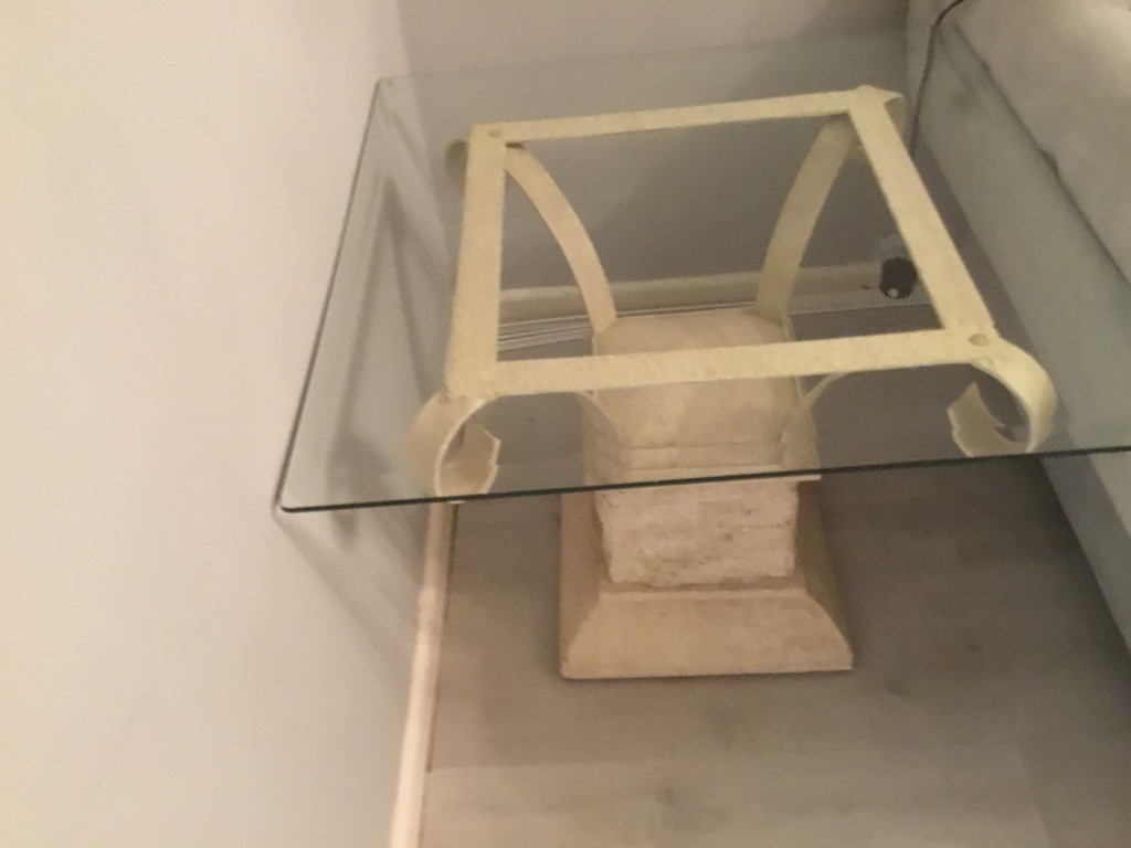 Beautiful stone and glass side table