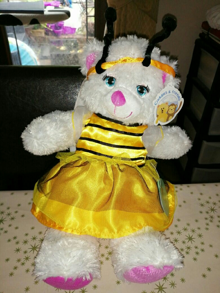 "Build your own 15"" Sparkly bear and bumble Bee outfit with a Christmas carry bag bnwt"