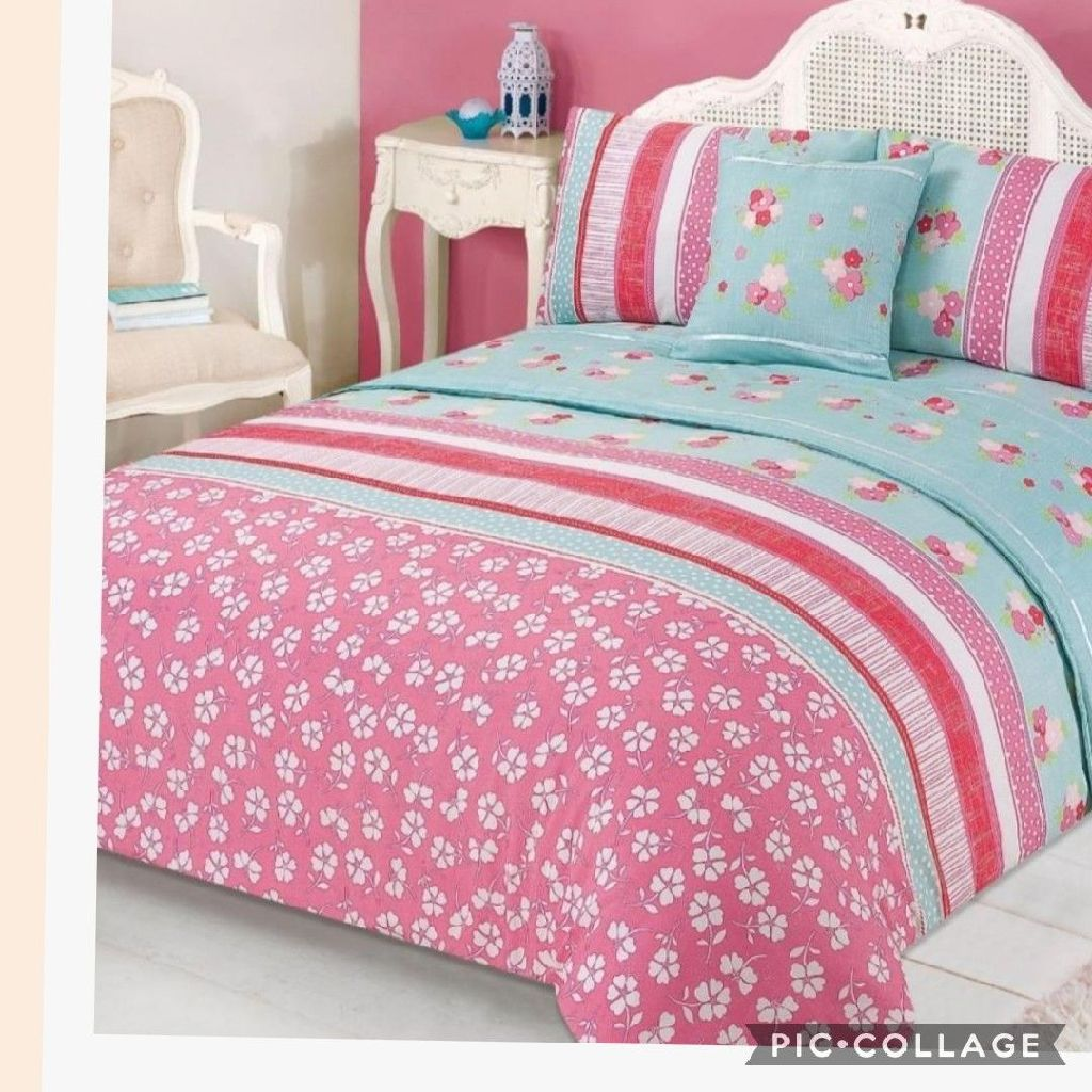 Verity Bed In A Bag Duvet Cover Set - Pink Green