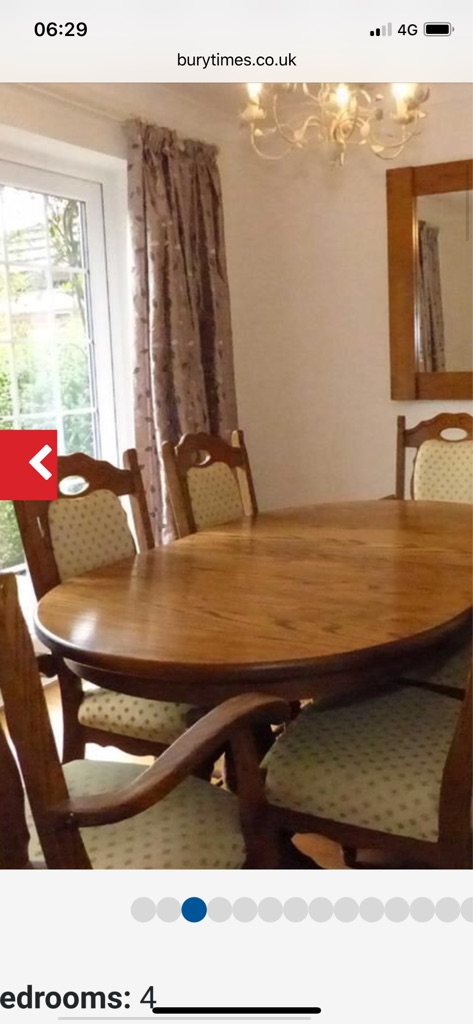 Dining Table, 6 chairs and cabinet