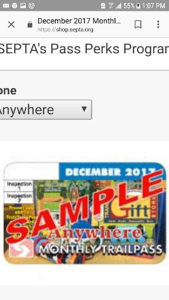 Septa zone 4 NOVEMBER monthly anywhere pass