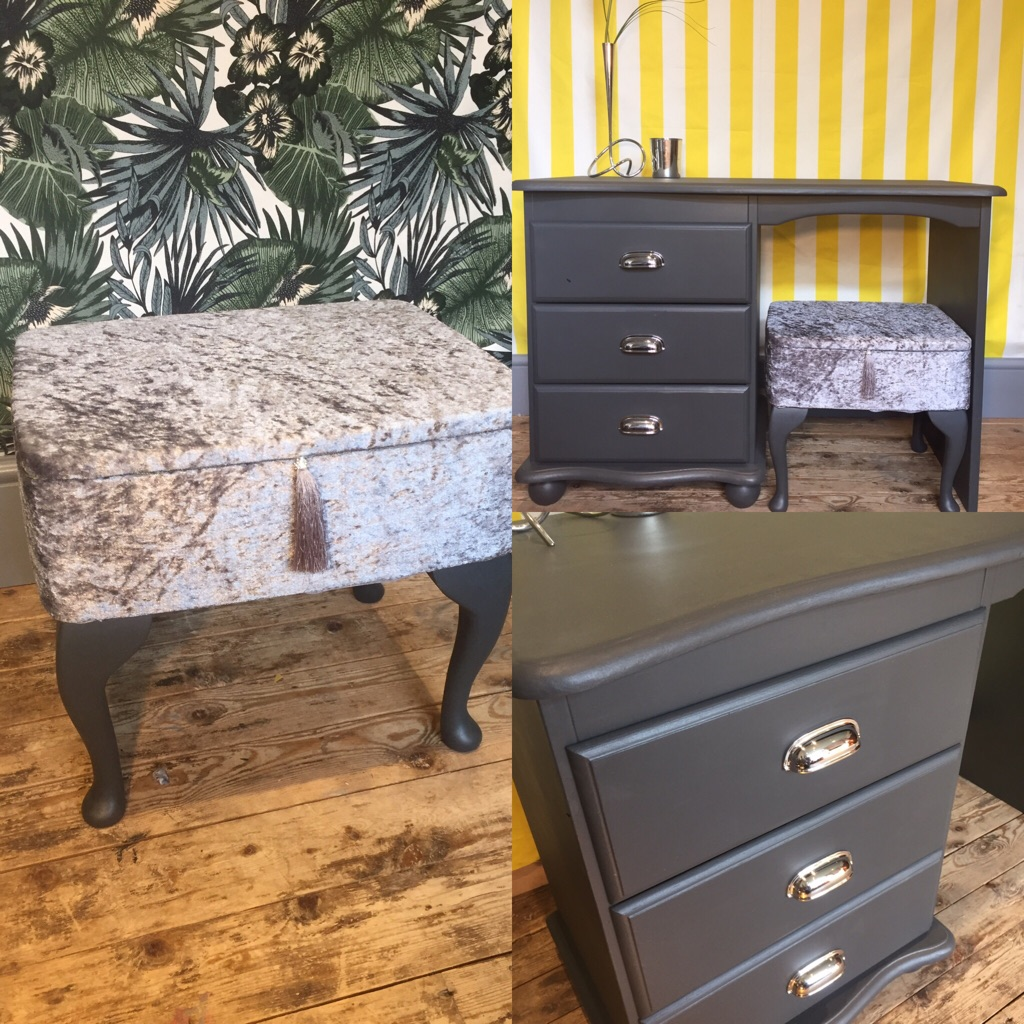 Vanity storage stool crushed velvet silver grey. Free delivery.