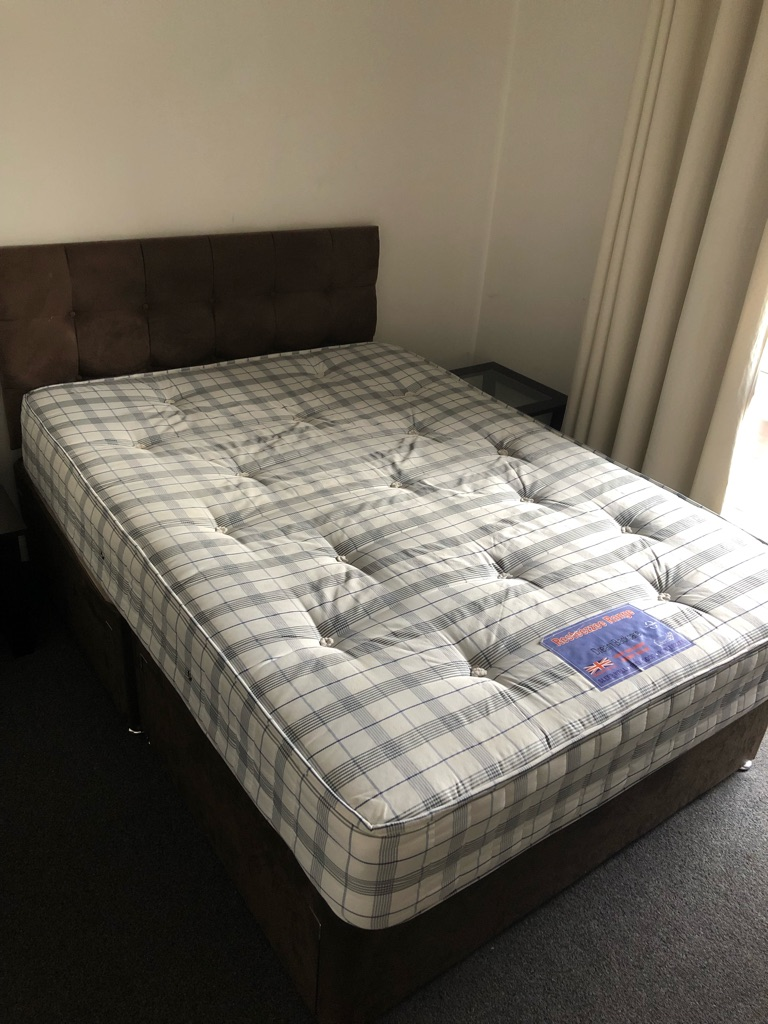 Double-bed with storage drawers, free mattress!