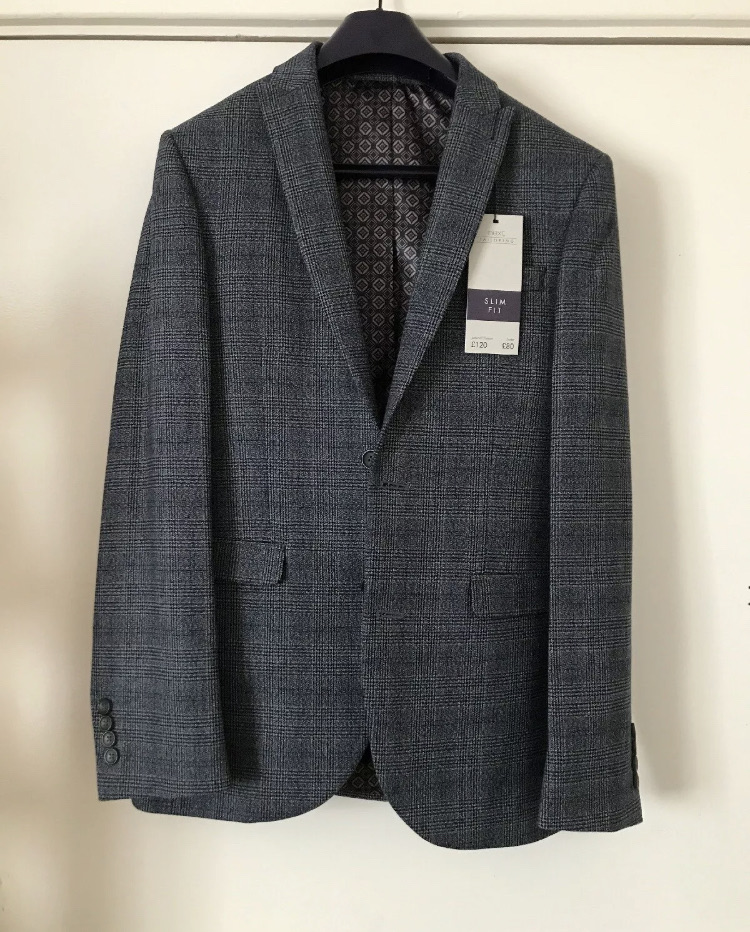 Brand new NEXT blue striped full suit - size 36R