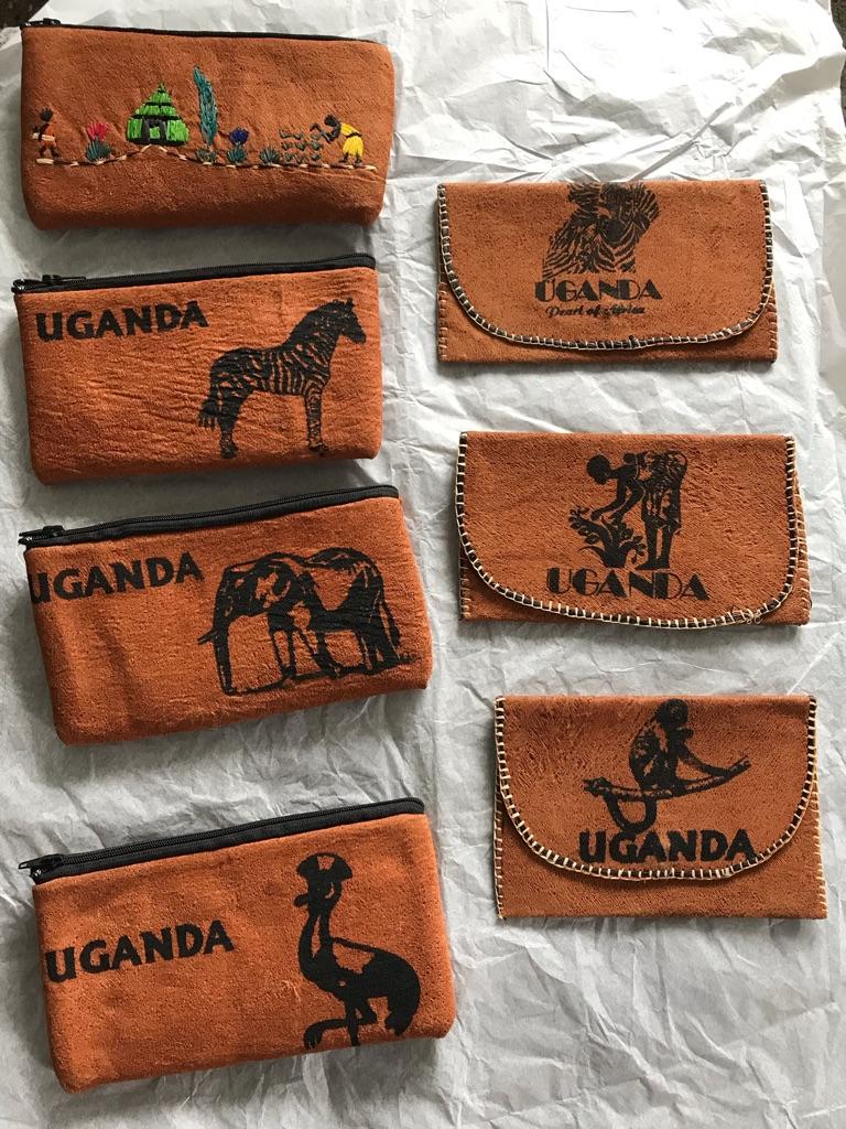 Traditional Ugandan fabric purses