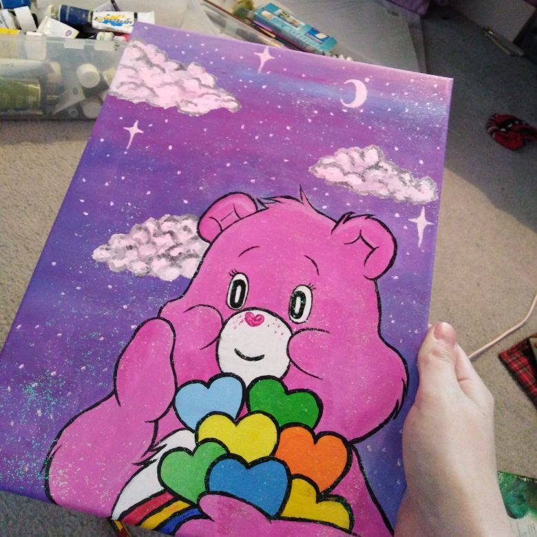 A4 Care bear glittery painting