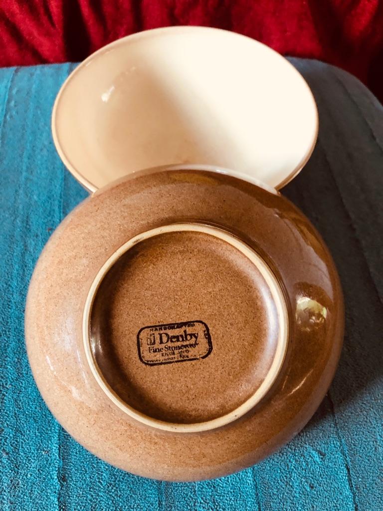Vintage  Denby Fine Stoneware-Brown Cereal Bowls x2