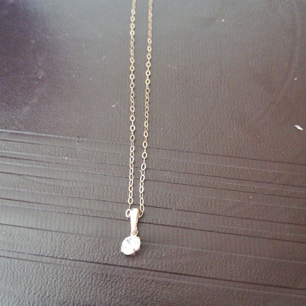 Womens gold zirconia stone necklace